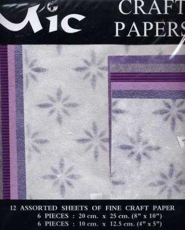 12 Sheets of High Quality Fine Purple Patterned Craft Paper